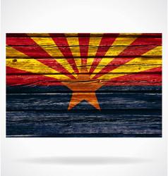 arizona az flag on old timber wall vector image