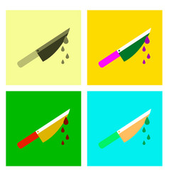 Assembly flat icons knife blood vector