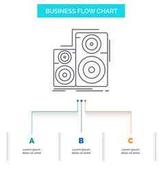 Audio hifi monitor speaker studio business flow vector