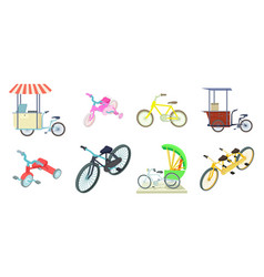 Bike icon set cartoon style vector