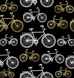 Bike seamless pattern bicycle gold concept vector