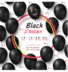 black friday timer discount up to 75 percents vector image