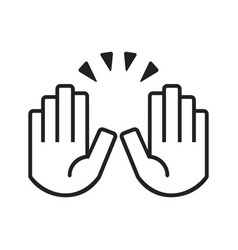 Black raising celebration hands icons on white vector
