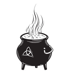Boiling magic cauldron vector