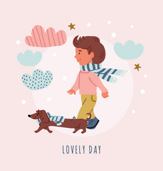 Boy with dachshund puppy- dog walk vector