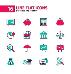 Business icon set in flat line style vector image