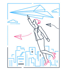 businesswoman flying on a paper plane - line vector image
