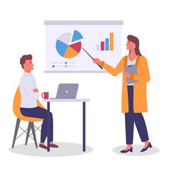 Businesswoman show presentation to colleague vector
