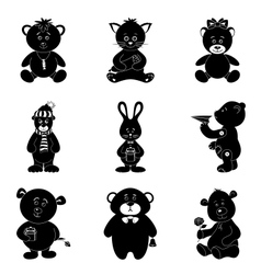 Cartoon animals silhouette vector image