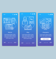 Channels for seo blue onboarding mobile app page vector