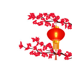 chinese new year two branches of a blooming red vector image