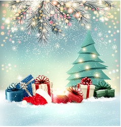 christmas holiday background with colorful vector image