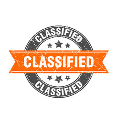 Classified round stamp with orange ribbon vector