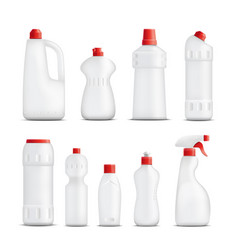 Cleaning product bottles collection vector