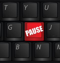Computer keyboard with pause in red color vector
