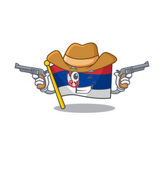 Cowboy flag serbia isolated with character vector