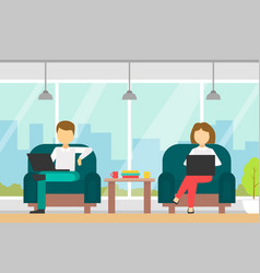 coworking space with people sitting in armchairs vector image