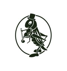 Cute grasshopper logo design vector