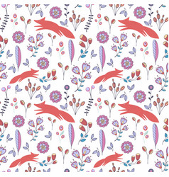 cute stylized seamless pattern with flowers and vector image