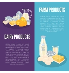 Dairy products vertical flyers with space for text vector