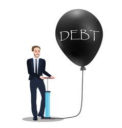 Debt problem concept of pumping baloon economic vector