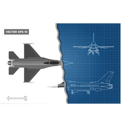 drawing military aircraft industrial blueprint vector image