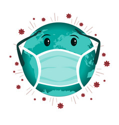 Earth globe with medical mask to protect against vector