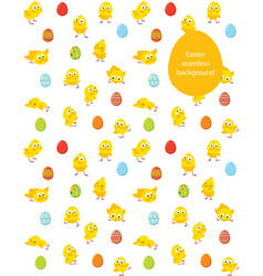 easter seamless pattern chicks and eggs vector image