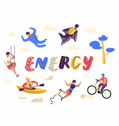 extreme sports people characters set kayaking vector image