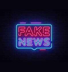 Fake news neon sign breaking news design vector