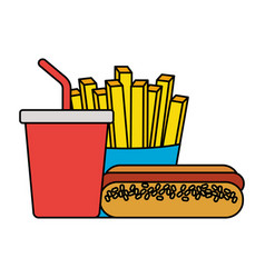 fast food hot dog french fries and soda vector image