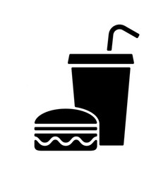 fast food silhouette eating and drinking sign vector image