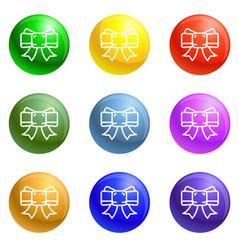 festive ribbon bow icons set vector image