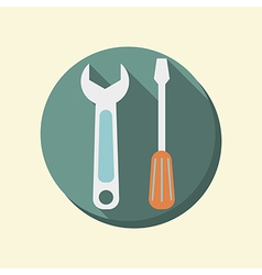 flat circle web icon screwdriver and wrench vector image
