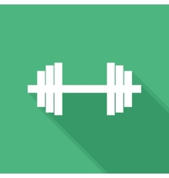 Flat long shadow barbell icon vector image