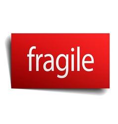 fragile red paper sign on white background vector image