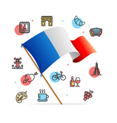 france travel design template line icon concept vector image