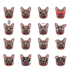 French bulldog dog emoji emoticon expression vector