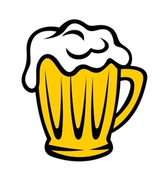 Golden tankard of beer with a frothy head vector image