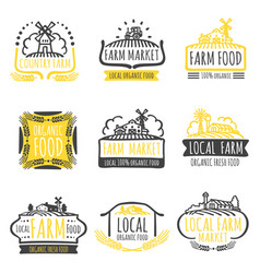 Hand drawn farm market organic food labels set vector
