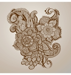 Hand- drawn henna tattoo art vector image