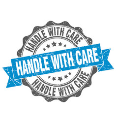 Handle with care stamp sign seal vector