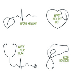 heart health icons set vector image