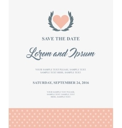 Heart icon Invitation and save the date design vector