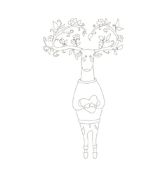 Hipster deer in love vector
