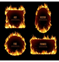 Hot fire flame frame on the black background vector