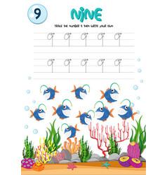how to write number nine worksheet vector image
