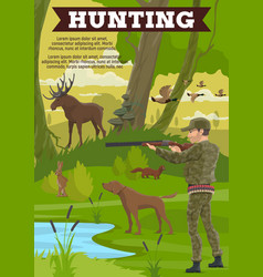 Hunting sport outdoor activity poster with hunter vector