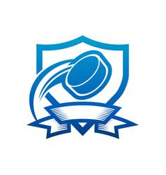 Ice hockey puck shield badge icon vector