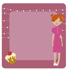 invitation frame with funky young girl vector image vector image
